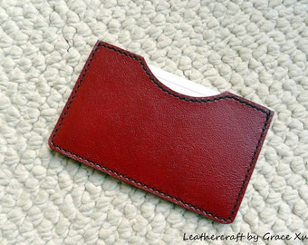 """100% hand stitched handmade red cowhide leather 3"""" x 5"""" index cards pouch / holder / case"""