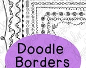 Doodle Borders Clip Art Bundle 2 PNG JPG Blackline Commercial Personal Swirls Squiggles Curves Scallops