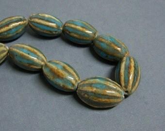 Glazed  Ceramic Beads, Large Hand Made Ceramic Beads, Large Hole Beads, 28x18mm