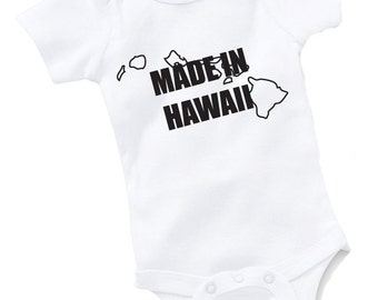 Made In Hawaii Onesie Bodysuit Baby Shower Gift Funny Geek Nerd Cute