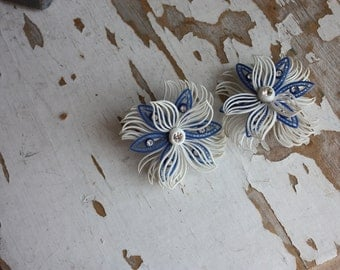 Vintage 1950's Blue and White Featherweight Earrings with Rhinestone Accents