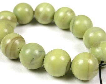 Fabulous Butter Jade Round Bead - 10mm - 12 Pieces - B3238