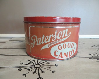Paterson Brantford Good Candy Tin Red and White Tin Red Kitchen Kitchen Storage Breadbox Bread Storage Cookie Tin Cookie Storage Storage Tin