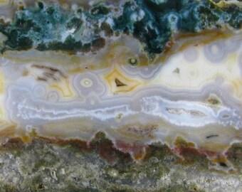 ORBS Yellow White Clear Green Ocean Jasper Slab 3RS0287