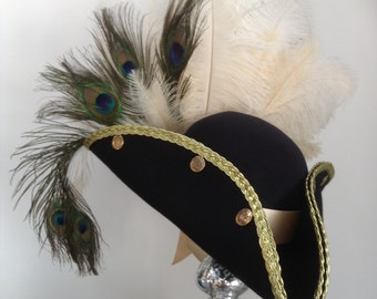 Steampunk French navy blue pirate  tricorn hat