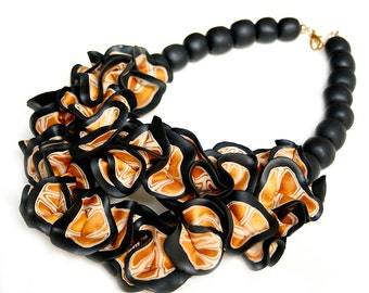 Black and Gold Ruffle Necklace, Statement Jewelry, Chunky Necklace, Statement Piece, Handmade, Polymer Clay Jewelry