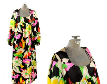 Vintage 1960's Mam'selle Betty Carol Abstract Floral Empire Waist Balloon Sleeve Trapeze Hippie Dress XS