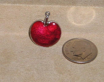 Vintage Sterling Silver Enamel Apple Charm Or Pendant 1970's Signed Jewelry A38