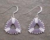 Purple Gray Geometric Triangle Beadwork Earrings with Sterling Silver