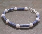 Sodalite Gemstone Bracelet with Swarovski Crystals