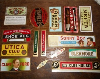 16 Lot Antique Tobacco Cigar New Old Stock Labels