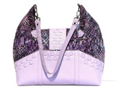 SALE ITEM/ Purple and Lavender Hobo Handbag /  Large Size with Front Pockets/ Leather Strap and Trim