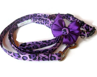 Purple Leopard Dog Leash Set size Small