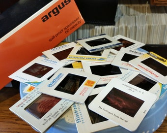 10 Vintage Photograph Film Slides Color ASSORTED- Kodachrome Ektachrome Fujicolor Subjects- Art Family Vacations People Places RANDOM lot