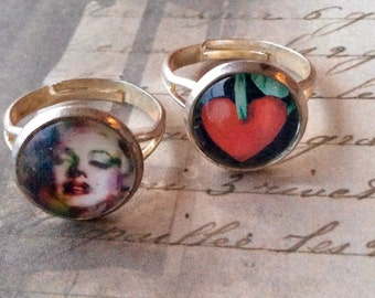 Jewelry Rings Womens Marilyn Monroe and Cherry 3D Resin Rings