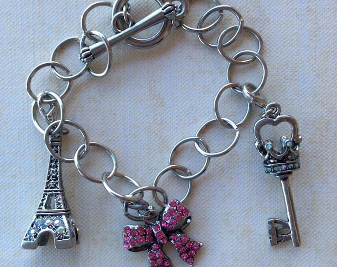 Jewelry, Bracelet, Charm Bracelet, Ballerina, Cupcake, Owl, Childrens Bracelet, Girls Silver Chain Link Interchangeable Charm Bracelet