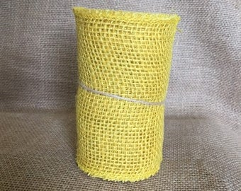 "Yellow Burlap Ribbon 5.5"" x 5 yds"
