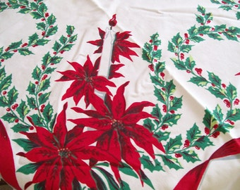 Christmas Holiday Tablecloth Vibrant Poinsettias and Candles with Holly Circa 1960s