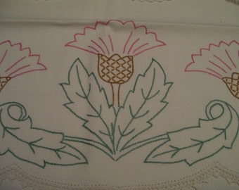 Vintage Embroidered Towel Decorative Hand Stitched Waffle Weave Towel Pink Green