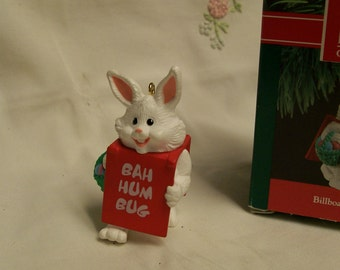 Hallmark Bunny Ornament Billboard Bunny Original Box 1990 Vintage Christmas Tree Ornament Holiday Tree Decoration Bunny Rabbit