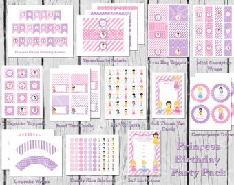 Princess Birthday Party Pack, Princess Party, Instant Download, Printable