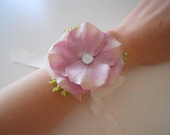 Blush Pink Hydrangea Wrist Corsage with rhinestone accent
