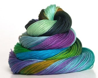 Size 80, hand dyed tatting thread, crochet cotton, rainbow, needlework thread, embroidery thread, lacemaking, sewing supplies