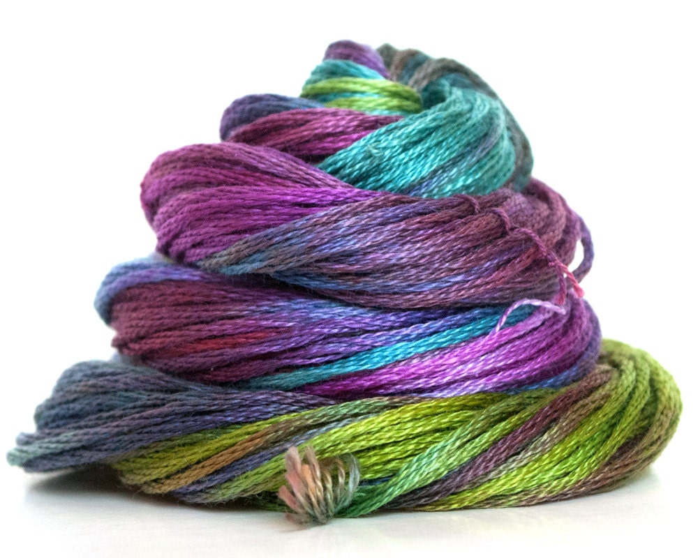 Hand dyed embroidery floss thread cross stitch