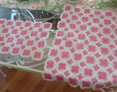 DELICATE  pair  of Shabby chic, cottage chic, Nursery cotton crochet hot pink and white ruffled doilie