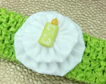 Yellow Green Birthday Candle Crochet Children's Headband