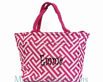 Personalized Canvas Greek Key Insulated Lunch Tote-Hot Pink & White Geometric Design Lunch Box - Monogram FREE