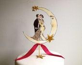 Moon Wedding Cake Topper - 14 Karat Gold Glitter - 20's - Marsala -Featured in Brides Magazine