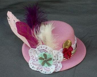 Mini Top Hat Fascinator - Victorian Steampunk Tea Party - Pink