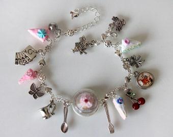 Alice in Wonderland Bracelet - Tea Party Bracelet  - Kawaii Eat Me Bracelet - Fairy Tale Jewelry