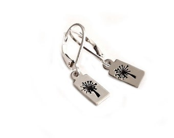 Dandelion Sterling Silver Hand Stamped Handmade Earrings - Dangle Earrings Jewelry