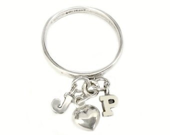 My Heart Loves Only You - Flicky Ring - Sterling Silver Dangle Charm Ring - All Silver Version