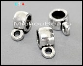 5 Antiqued SILVER 9mm Charm HOLDER Spacer Bail Links - 9x5mm w/ 3.2mm Hole Metal Round Tube Slider Pendant - Instant Ship - USA - 5901