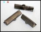 BULK 100 GUNMETAL 25mm Ribbon Cord CRIMP End Clamps - Rectangle 25x6mm Textured Press Pinch Bail Crimp for Cord n Leather - USa - 5796