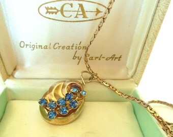 "Vintage Necklace Choker Rhinestone Pendant Blue Gold Chain 16"" 40's  (item 12)"