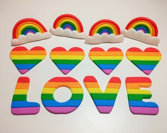 Edible Fondant Cupcake Toppers, Pride, Rainbow, Love, Bridal Shower, Proposal, Birthday, Personalized