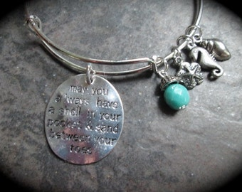 May You Always Have A Shell in Your Pocket and Sand Between Your Toes adjustable bangle bracelet with Sand Dollar and Seahorse charms