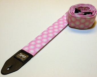 Handmade double padded pink and white polka dot guitar strap - Pink and White Polka