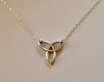 Celtic Knot Necklace in Sterling Silver, Sterling Trinity Knot Necklace