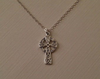 Tiny Celtic Cross Necklace in Sterling Silver