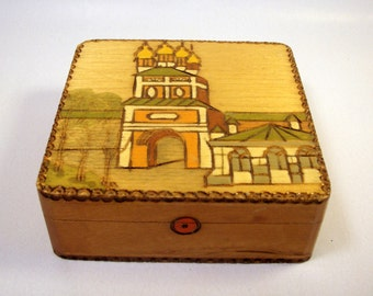 RUSSIAN WOOD BOX / Vintage Folk Art / Jewelry Trinket Treasure - Cathedral