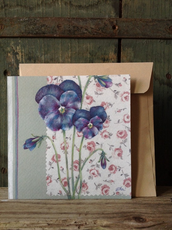 square folding greetings card with flowers