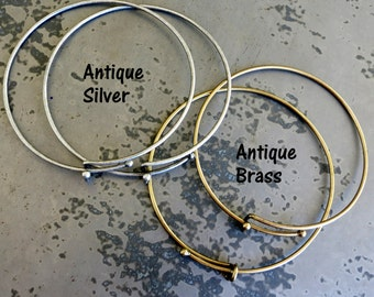 Adjustable Wire Bangle Bracelet, Antique Silver or Antique Brass, Add Charms or Beads, Personalize, Bracelet Supply