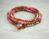 Colorful Beaded Wrap Bracelet, Pink and Gold, Boho Wrap Bracelet, Double Strand Necklace, Summery