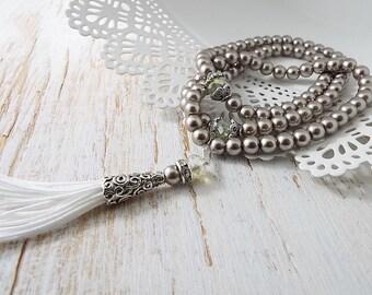 Pearl Tasbih Tasbeeh Muslim Prayer Bead 99 bead Ramadan Eid gift wedding