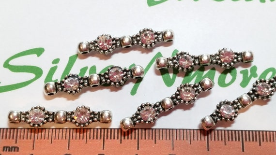 9 pcs per pack 30x4mm 3 Strands Clear Rhinestone Bar Antique Antique Silver Lead Free Pewter